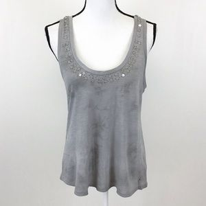 American Eagle Gray Beaded Sequin Tank Top